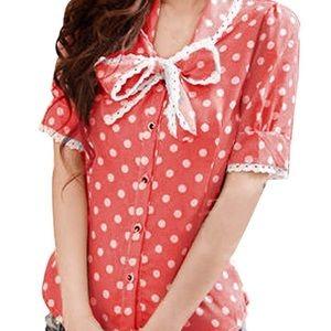 Watermelon pink polka dot bow blouse